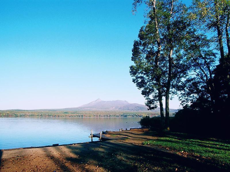 大沼湖畔湿地奥からの眺め
