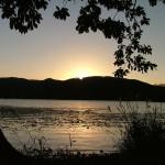 小沼越しに沈む夕日