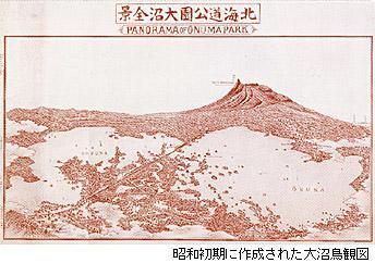 昭和初期に作成された大沼鳥観図