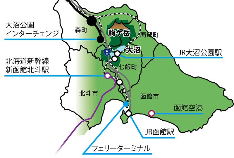 大沼国定公園周辺の交通